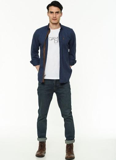 Dewberry Uzun Kollu Pamuklu Erkek Gömlek Lacivert